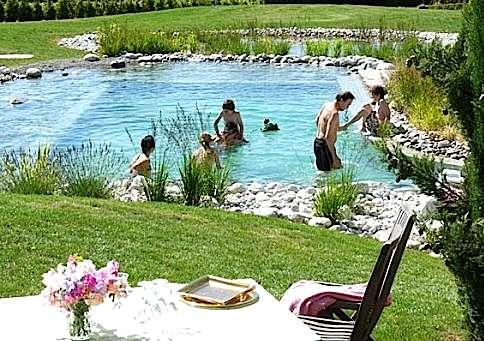 La profondeur du bassin de baignade varie en moyenne de 1 à 2 mètres. Si les conditions le permettent, on peut prévoir une fosse de plongée de 2,50 à 3 mètres (voire plus). © BioNova