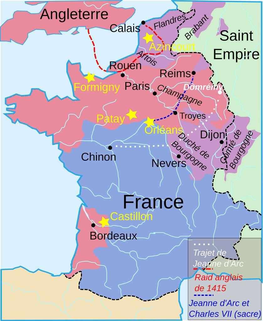Situation du royaume de France en 1429 (en bleu), d'après le traité de Troyes de 1420. © Wikimedia Commons, domaine public