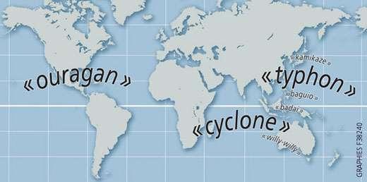 Carte de localisation des noms de cyclone. © Prim.net
