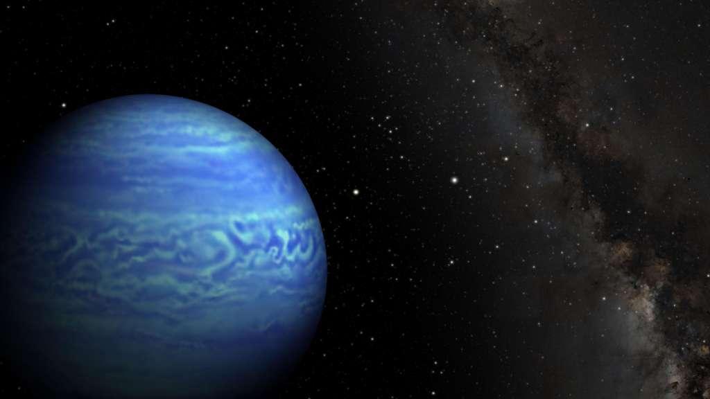 Presque deux fois plus loin du Système solaire que Proxima Centauri, WISE J085510.83-071442.5 (ou WISE J0855-0714) est la naine brune la plus froide connue des astronomes. Illustration de cette étoile ratée, en partie couverte de nuages d'eau. © Nasa, JPL-Caltech, Penn Sate University
