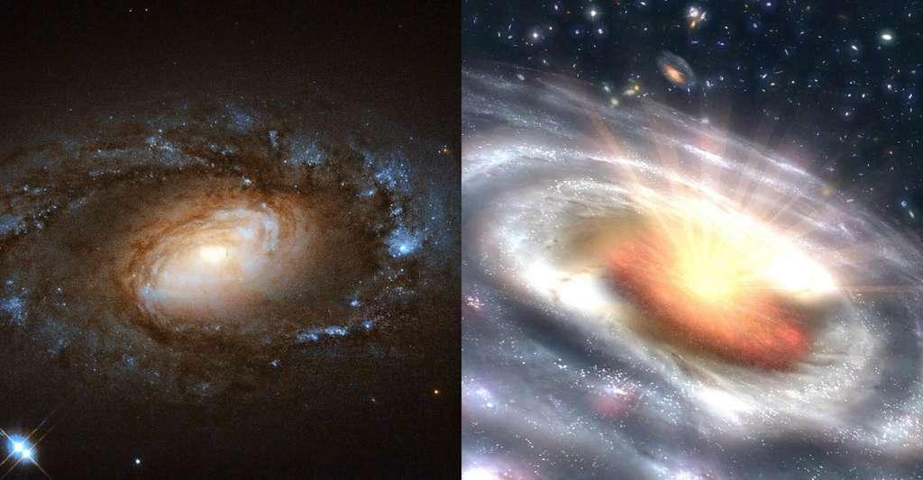 À gauche, une galaxie Liners telle que celles étudiées par les chercheurs de l'université du Maryland (États-Unis) et à droite, le type de quasar dans lequel elle s'est transformée en quelques mois seulement. © Image de gauche : ESA/Hubble, Nasa et S. Smartt, Queen's University Belfast; image de droite : Nasa, JPL-Caltech