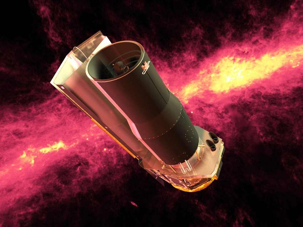 L'équipe de l'International Centre for Radio Astronomy Research s'est appuyée sur les données fournies par plusieurs instruments astronomiques pour arriver à mesurer avec précision le fond diffus extragalactique. Ici, une vue d'artiste du télescope spatial Spitzer sur fond de Voie lactée. © Nasa, JPL-Caltech, DP