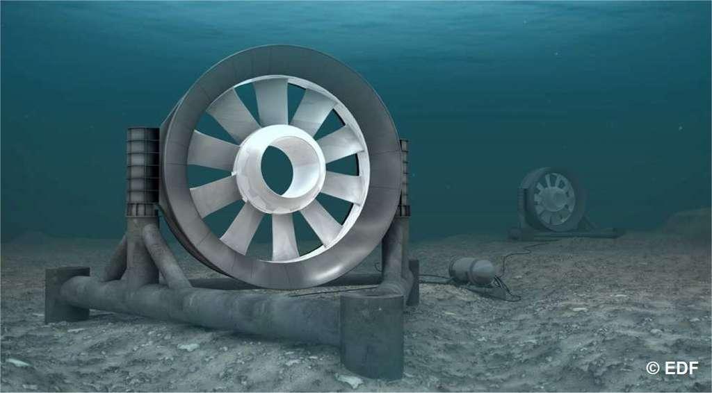 Prototypes des hydroliennes qui sont en cours d'installation au parc Paimpol-Bréhat. Chaque hydrolienne possède une turbine d'un diamètre de 16 m et est située à 35 m de fond. Chaque hydrolienne pourra fournir une puissance de 0,5 MW. © EDF
