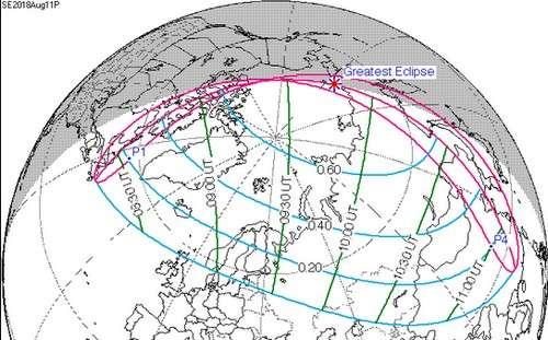 Visibilité de l'éclipse partielle de Soleil du 11 août 2018.