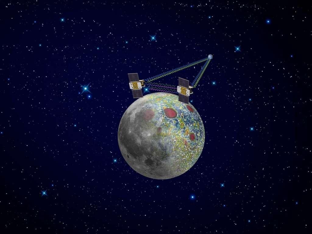 La mission Grail, constituée de deux petits satellites de 200 kg chacun, a cartographié la densité du sous-sol lunaire pendant l'année 2012. © Nasa, JPL, Caltech
