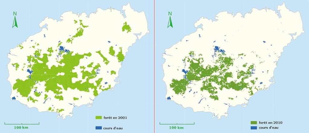 Étendue de la forêt tropicale humide sur l'île de Hainan en 2001 et en 2010. © Greenpeace Chine