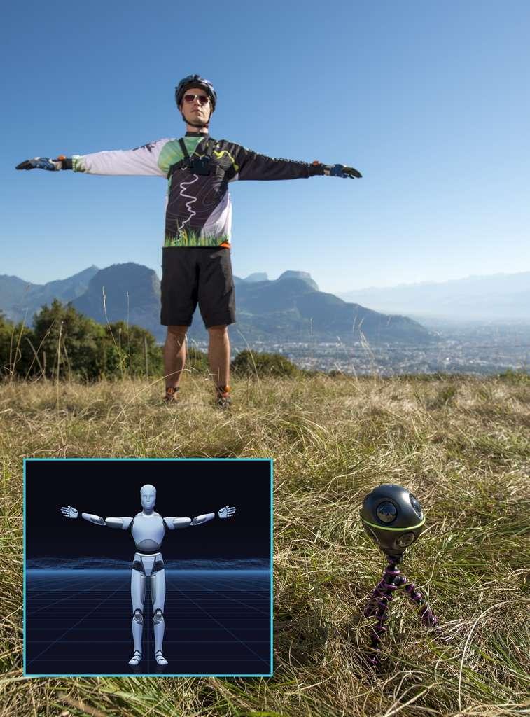 Avant de débuter une activité, l'utilisateur du système Motion Recall doit créer un avatar en se filmant avec la caméra 360° qui détecte les capteurs de mouvement placés sur les quatre membres. C'est cet avatar qui permettra, grâce à la puissance de calcul d'un ordinateur, de changer de point de vue une fois immergé dans la vidéo avec un casque de réalité virtuelle. © Motion Recall