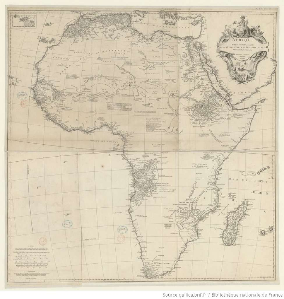 Carte de l'Afrique réalisée par Jean-Baptiste Bourguignon d'Anville en 1749. Bibliothèque nationale de France. © gallica.bnf.fr, BnF