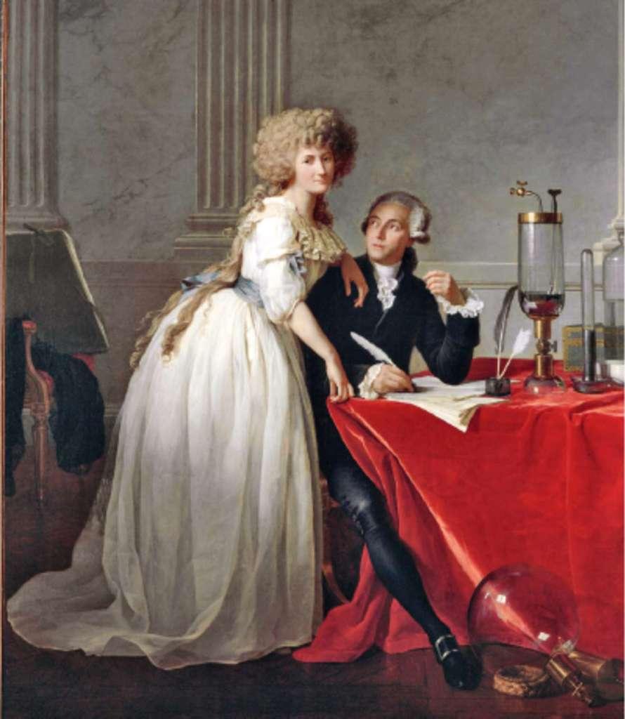 Portrait d'Antoine Lavoisier et de sa femme, la chimiste Marie-Anne Pierrette Paulze, avec divers appareils scientifiques (1788), par le peintre français Jacques-Louis David. © Dunod