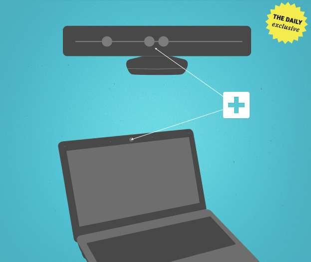 En lieu et place de la webcam, le Kinect serait directement intégré dans l'écran des PC portables. © The Daily