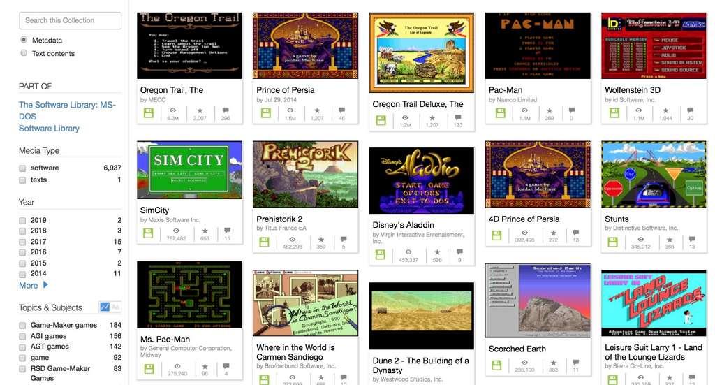 Les plus âgés seront ravis de retrouver les jeux qui ont bercé leur enfance ou adolescence. © archive.org