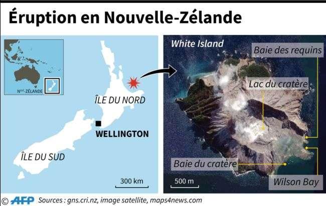 La position de White Island en Nouvelle-Zélande et la géographie de l'île. © AFP
