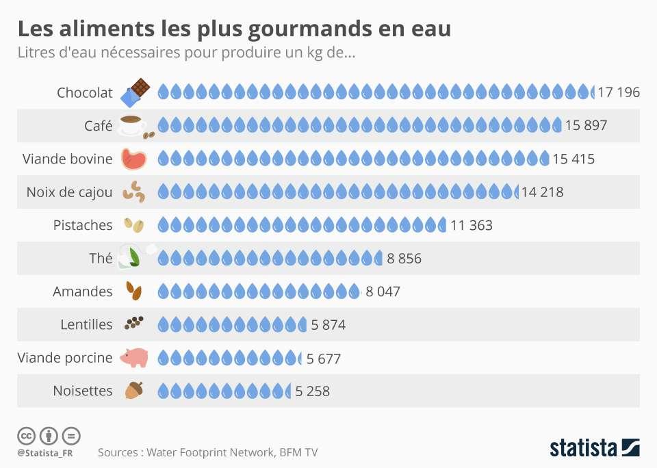 Les aliments à l'empreinte eau la plus élevée. © Statista