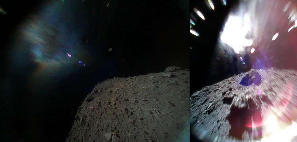 À gauche, photo prise le 21 septembre par le rover 1B, juste après le largage de la sonde Hayabusa-2. À droite, image prise le 22 septembre par le rover 1A lors d'un bond au-dessus de la surface de l'astéroïde Ryugu. © Jaxa