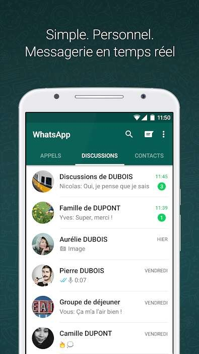 Whatsapp est une application de messagerie multiplateforme appartenant à Facebook depuis 2014. © Whatsapp Inc.