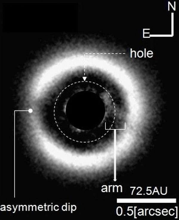 Cette image a été prise en infrarouge proche en occultant la lumière de l'étoile au centre du disque protoplanétaire entourant J 1604. C'est la première à montrer aussi clairement dans un tel disque une zone appauvrie en poussières et en gaz (hole). Une arche (arm, ou « bras »), dont la taille est de plusieurs dizaines d'unités astronomiques (UA, ou AU en anglais), est bien visible, en face d'une zone moins chargée en matière (asymmetric dip). Tout comme l'intervalle séparant les deux parties du disque, cette arche pourrait signaler la présence d'une exoplanète. © The Graduate University for Advanced Studies, National Astronomical Observatory of Japan