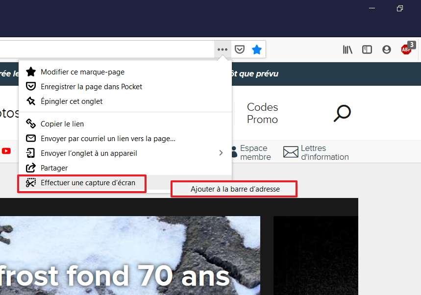 Il faut « Ajouter à la barre d'adresse » l'icône pour « Effectuer une capture d'écran ». © Mozilla Foundation