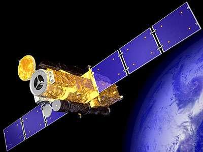 Image d'artiste du satellite Hinode (levée de Soleil en Japonais) (Crédit : JAXA).