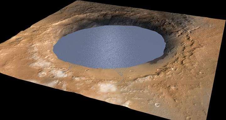 Selon les chercheurs, un lac devait remplir le cratère Gale tout entier (155 km de diamètre), il y a entre 3,5 et 2,7 milliards d'années. © Nasa, JPL-Caltech, Esa, DLR, MSSS
