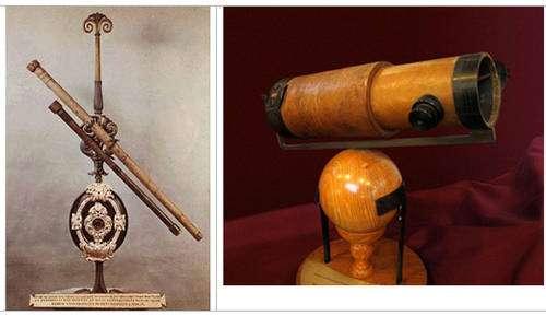 Gauche : lunette de Galilée. Droite : réplique du télescope de Newton. © Andrew Dunn