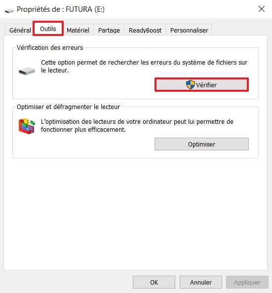 Cliquez sur « Vérifier » dans l'onglet « Outils ». © Microsoft