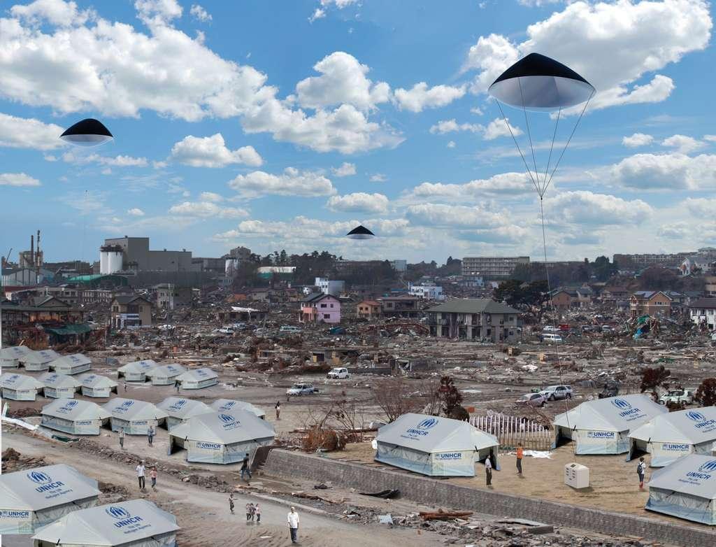 Des ballons captifs (en vue d'artiste), recouverts de panneaux photovoltaïques pliables et légers, fournissent un courant électrique alimentant des servitudes au sol et peuvent assurer des accès au réseau Internet. © Zéphyr Solar