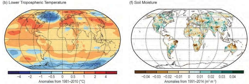 Deux cartes publiées dans le rapport de la NOAA. Celle de gauche indique les températures de l'air dans le bas de la troposphère, donc près du sol (Lower Tropospheric Temperature). La couleur indique pour chaque zone mesurée l'anomalie, c'est-à-dire la différence, en degrés Celsius, entre la moyenne de 2015 et celle de la période de référence, en l'occurrence 1981-2010, rouge pour une moyenne plus élevée, bleue si elle est plus faible. Celle de droite donne, toujours sous la forme d'anomalies, l'humidité des sols (soil moisture). © NOAA