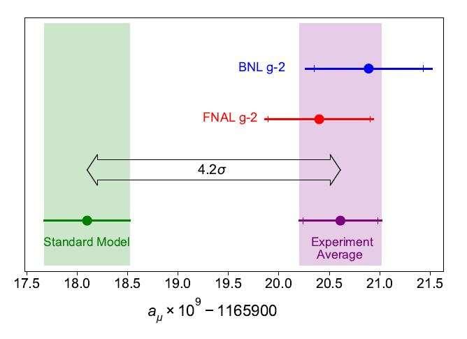 À gauche, les résultats des calculs de la valeur du moment magnétique du muon prédite par le modèle standard et la barre d'erreur indiquant les incertitudes de ces calculs. Sur la droite, les résultats expérimentaux de l'expérience au Brookhaven National Laboratory et ceux de l'expérience du Fermilab, là aussi avec des barres d'erreur. En combinant les statistiques des deux expériences, une estimation plus précise est obtenue qui est en désaccord encore plus marqué avec l'estimation théorique, puisque de 4,2 sigma. Mais c'est insuffisant pour parler d'une découverte. Calculs et prises de données doivent continuer. © Ryan Postel, Fermilab Muon g-2 collaboration