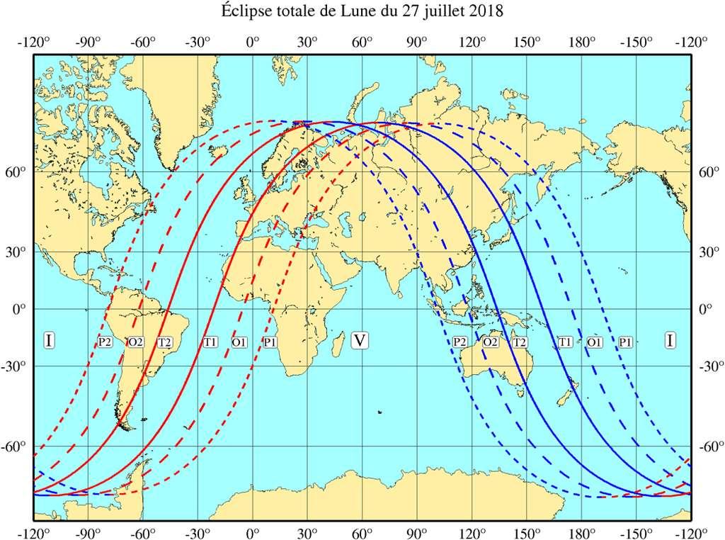 Carte de visibilité de l'éclipse lunaire du 27 juillet 2018. © IMCCE