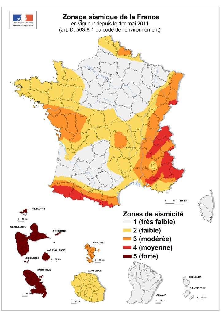 Carte du zonage sismique en France. © Plan séisme