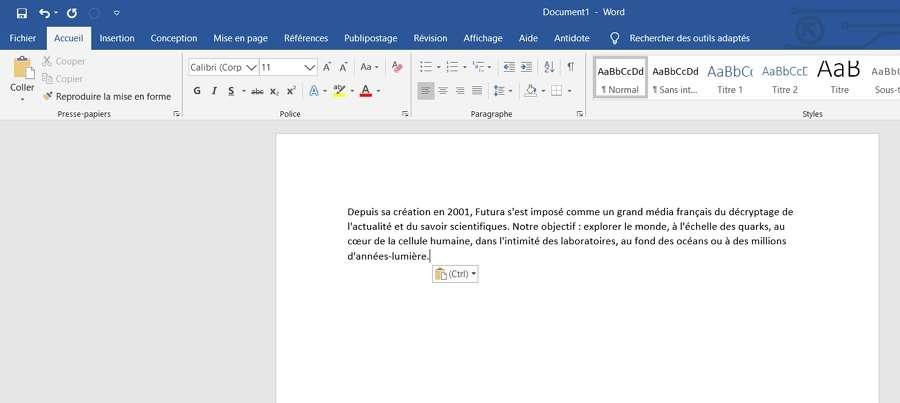Ouvrez le document dont vous désirez aligner verticalement le texte. © Microsoft