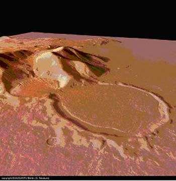 Le « glacier sablier » photographié par la sonde Mars Express à l'est du bassin d'Hellas : À présent sous une couche de sédiment protectrice, la glace du petit cratère (diamètre 9 km) a flué dans le grand cratère en contrebas, large de 16 km © ESA/DLR/FU berlin (G. Neukum).