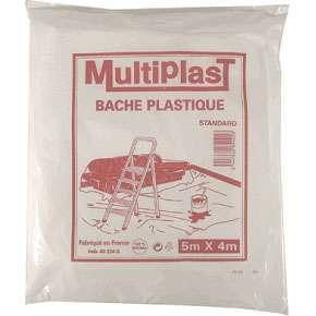 Bâche standard en polyéthylène de 4 x 5 m. Prix : 1,57 euros (chez Brico Shop). © DR