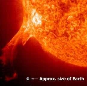 Une éruption solaire vue par SOHO avec l'instrument EIT à 304 angströms crédits : ESA/NASA