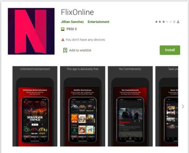 Cette fausse application reprend le logo et les visuels de Netflix mais c'est un virus. © Checkpoint