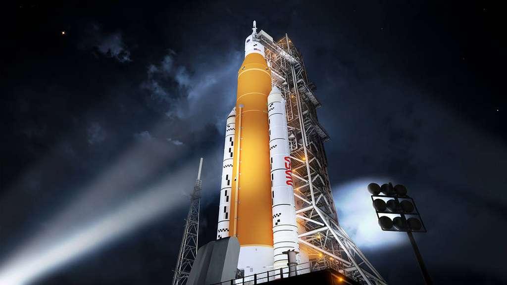 Le lanceur Space Launch System (Bloc I) sera utilisé durant le programme Artemis pour envoyer des astronautes sur la Lune. © Nasa, MSFC