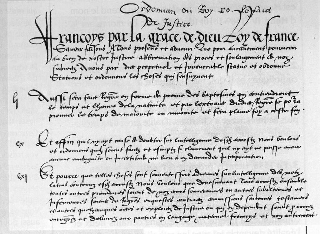 Préambule de l'ordonnance de Villers-Cotterêts de 1539 (copie) ; le français devient la langue officielle de l'administration et de la justice sur l'ensemble du royaume. Il s'agit encore de moyen français. © Wikimedia Commons, domaine public.