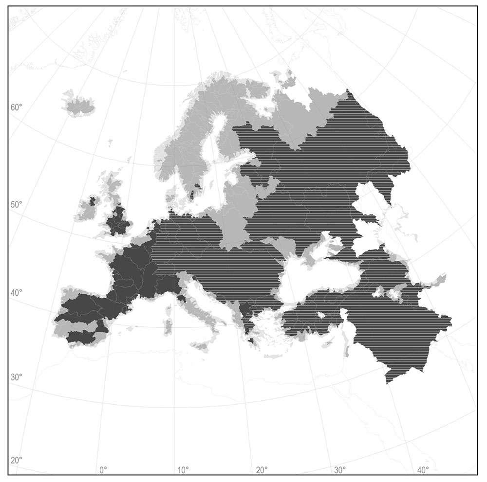 Carte de la répartition actuelle du silure glane en Europe. En hachuré, les zones où le silure est présent naturellement, en noir où il a été introduit et en gris où il n'y a pas eu officiellement d'introduction. © D'après Cucherousset et al. 2018.