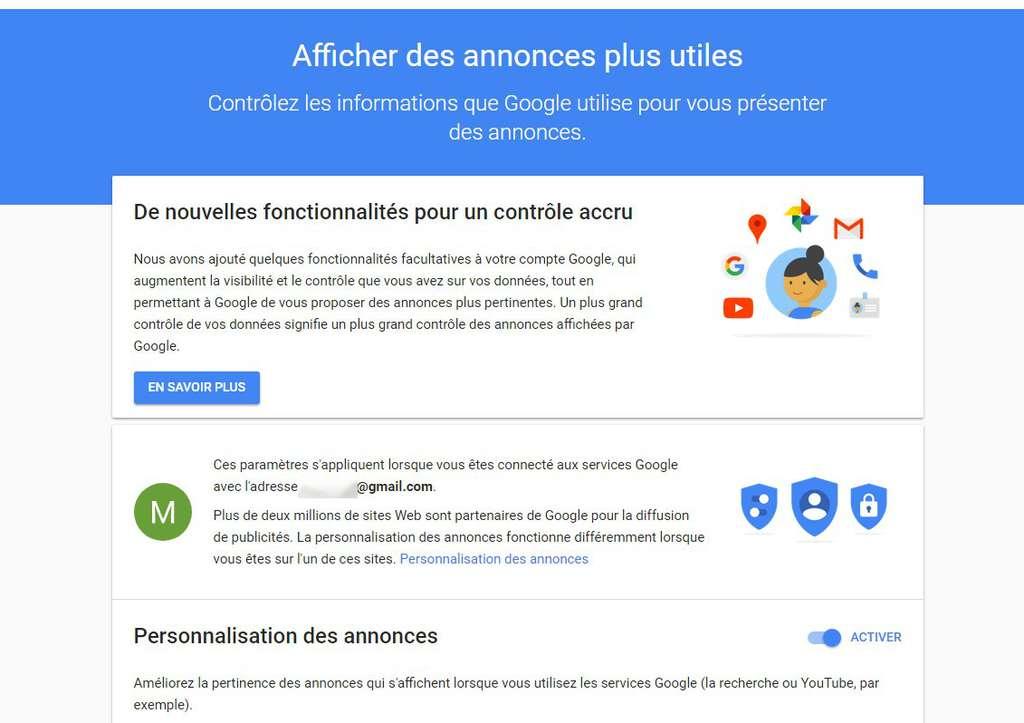 Le compte Google comporte un tableau de bord dédié à la personnalisation des annonces publicitaires. © Futura
