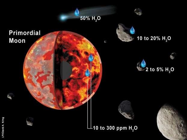 Ce schéma résume les diverses sources d'eau apportée à la Lune lorsqu'elle était encore partiellement fondue (régions rouges-orange) et que sa croûte primordiale se formait (régions grises-blanches à la surface). L'analyse des échantillons lunaires suggère que des astéroïdes similaires aux météorites carbonées riches en eau de type CI, CM et CO ont pu être les principaux pourvoyeurs d'eau. Les météorites carbonées de type CI et CM contiennent 10 à 20 % d'eau. Les comètes contiennent bien plus d'eau, peut-être jusqu'à 50 % en masse, mais elles auraient contribué pour moins de 20 % à la réserve d'eau lunaire. © Insu, CNRS, LPI, David A. Kring