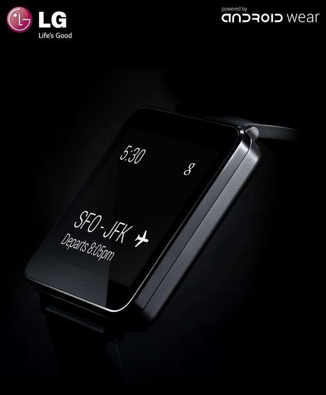 LG est avec Motorola le premier constructeur à avoir dévoilé son modèle de montre Android Wear. La G Watch doit sortir au cours du prochain trimestre. Ni ses caractéristiques ni son prix n'ont été communiqués. © LG