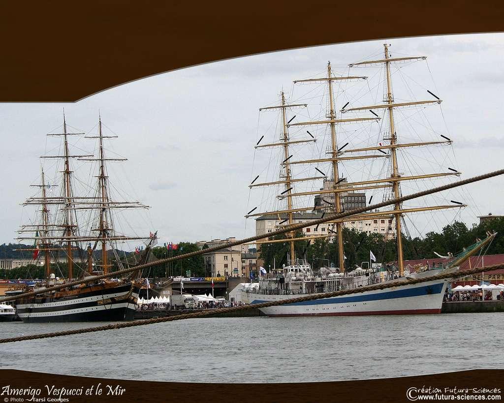 Deux types de voiliers : l'Amerigo Vespucci et le Mir