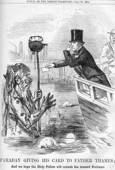« Faraday donnant sa carte au Père Tamise ; Et nous espérons que le pouilleux consultera le professeur. » Caricature commentant une lettre du chimiste et physicien Michael Faraday sur l'état de la Tamise en juillet 1855. © Wikimedia Commons, domaine public