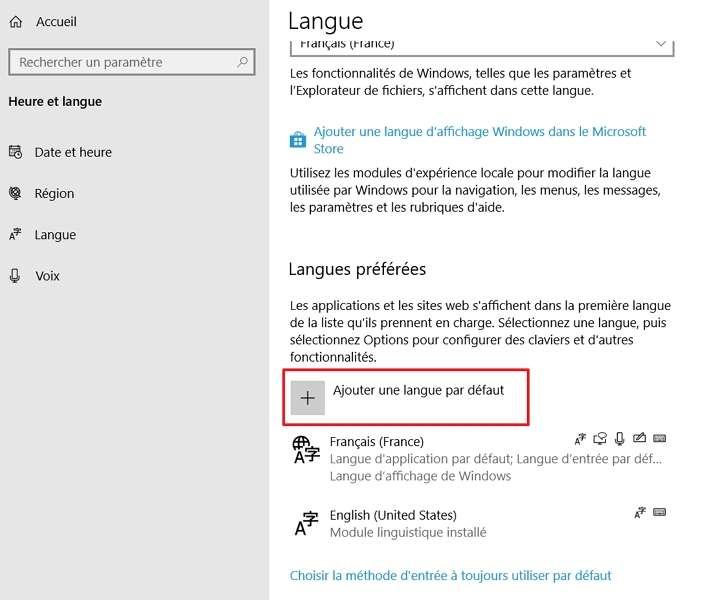 Cliquez sur « Ajouter une langue par défaut ». © Microsoft