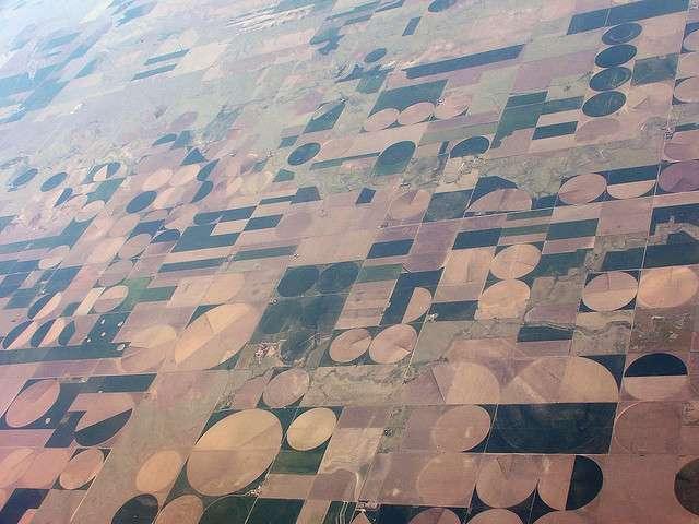 Paysage irréel, les champs irrigués du Kansas s'étendent à perte de vue. Succession ininterrompue de monocultures intensives, ils n'accordent aucune place aux espaces semi-naturels permettant le maintien, même minimal, de la biodiversité. Actuellement, l'essentiel de l'alimentation mondiale est assuré par seulement 10 espèces végétales, sur les 30.000 disponibles. © Etienne Boucher, flickr, CC by-nc-sa 2.0