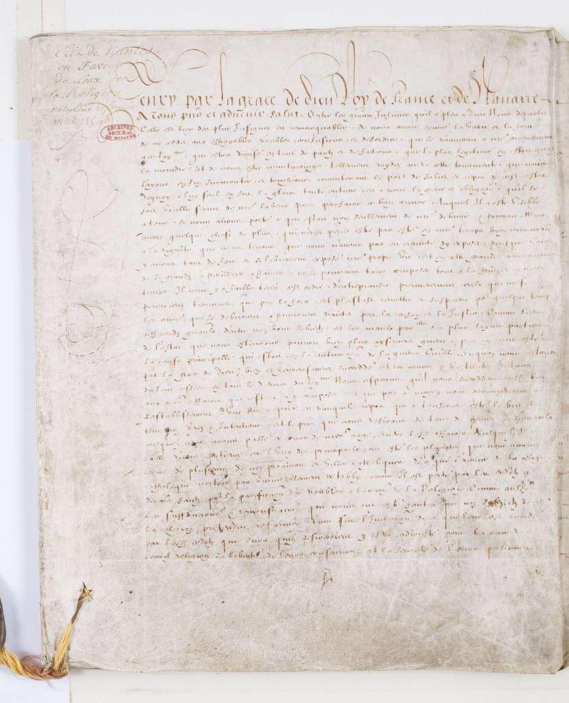 Édit de Nantes d'avril 1598 : seconde version adressée au Parlement de Paris pour enregistrement. Archives nationales de France, cote AE/II/763. © Wikimedia Commons, domaine public