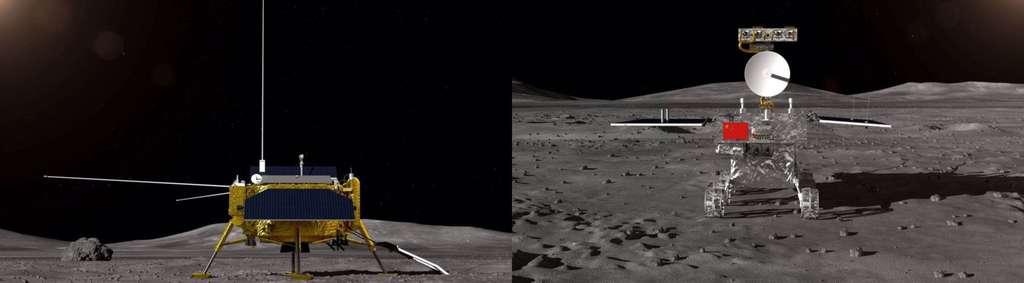 Vues d'artistes de la plateforme d'atterrissage et du rover de la mission Chang'e 4. © CASC