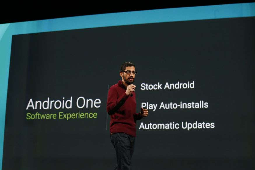 Présentation d'Android One lors de la conférence Google I/O en juin 2014. © Google