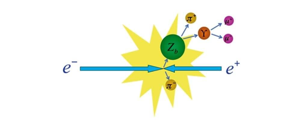 Au KEK, des électrons et des positrons entrant en collision auraient produit des hadrons exotiques nommés Zb. Instables, ces hadrons se désintègrent en mésons pi et en bottomium lequel se désintègre lui-même en muons chargés. © KEK