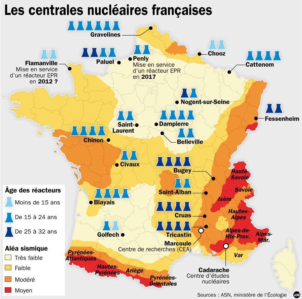 Les différentes centrales nucléaires en France (NB : le réacteur de l'Institut Laue-Langevin n'apparaît pas sur cette carte car il ne s'agit pas d'une centrale nucléaire). © Idé